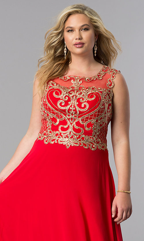Image of long plus-size prom dress with lace applique bodice. Style: FB-GL2316P Detail Image 4