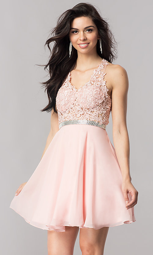Image of short homecoming dress with sheer lace-applique bodice. Style: DQ-2048 Front Image