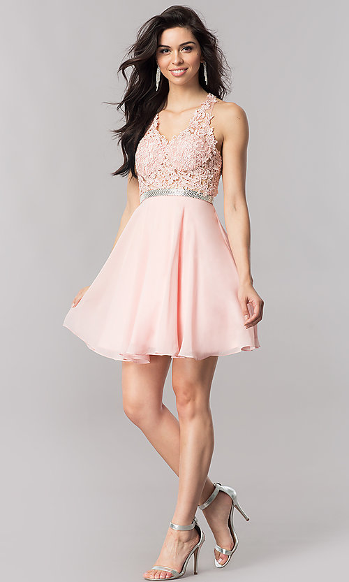 Image of short homecoming dress with sheer lace-applique bodice. Style: DQ-2048 Detail Image 1