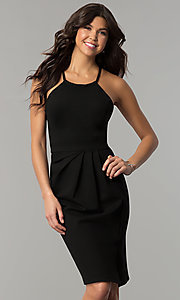 Image of knee-length open-back party dress with ruching. Style: AL-HL-108 Front Image