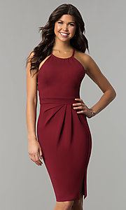Image of knee-length open-back party dress with ruching. Style: AL-HL-108 Detail Image 2