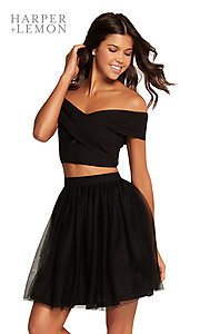 Image of two-piece off-the-shoulder a-line homecoming dress. Style: AL-HL-111 Detail Image 1