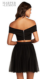 Image of two-piece off-the-shoulder a-line homecoming dress. Style: AL-HL-111 Detail Image 2