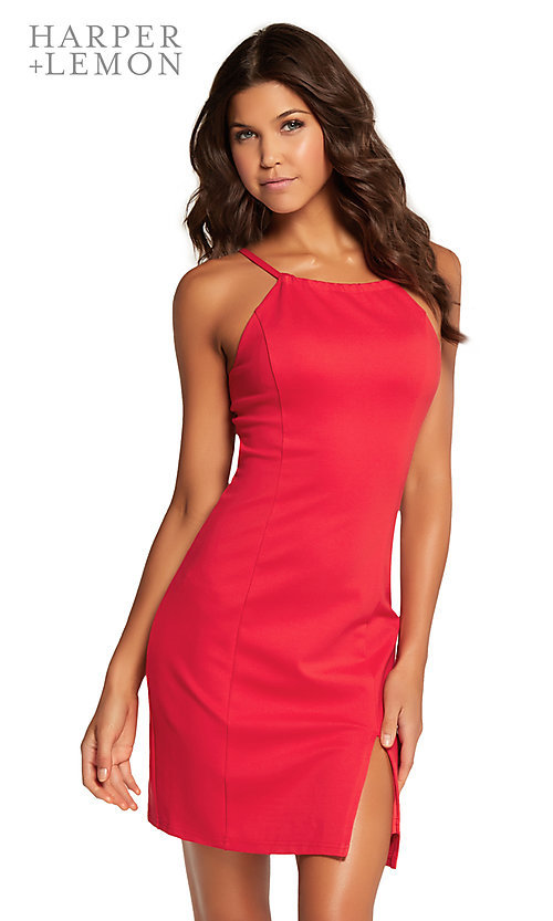 Image of short homecoming dress with side slit and cut out. Style: AL-HL-105 Front Image