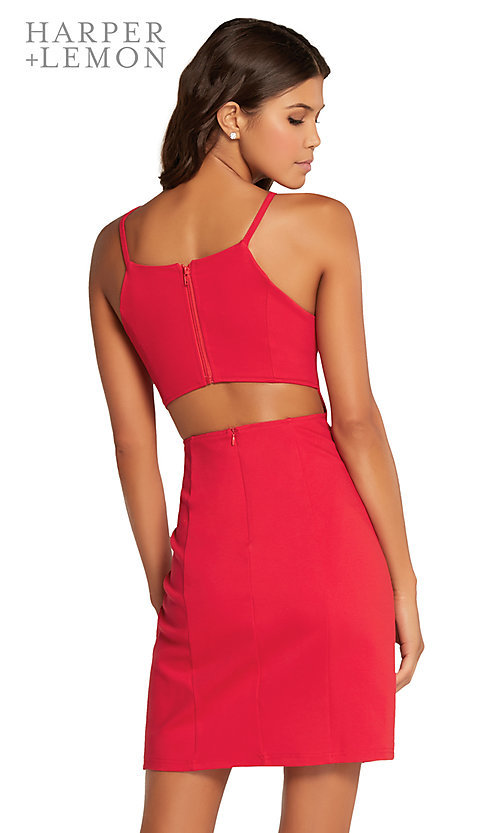 Image of short homecoming dress with side slit and cut out. Style: AL-HL-105 Back Image