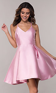Image of short v-neck fit-and-flare homecoming dress. Style: AL-HL-109 Detail Image 3