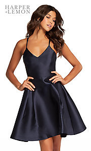 Image of short v-neck fit-and-flare homecoming dress. Style: AL-HL-109 Front Image