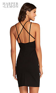Image of high-neck short party dress with strappy open back Style: AL-HL-106 Detail Image 2