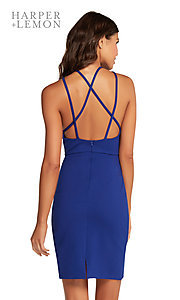 Image of high-neck short party dress with strappy open back Style: AL-HL-106 Back Image