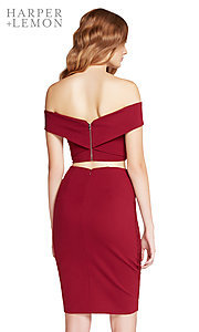 Image of short off-the-shoulder two-piece homecoming dress. Style: AL-HL-104 Back Image