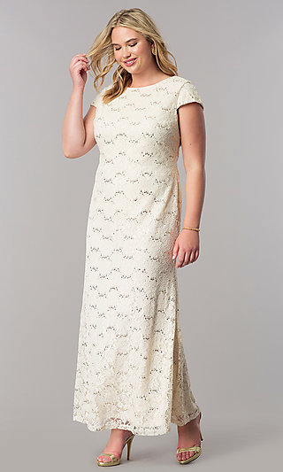 Lace Plus Long Wedding Guest Dress with Sequins