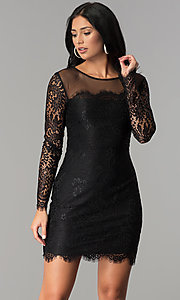 Image of long-sleeve short lace party dress with scallops. Style: JU-10410 Detail Image 3