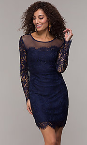 Image of long-sleeve short lace party dress with scallops. Style: JU-10410 Front Image
