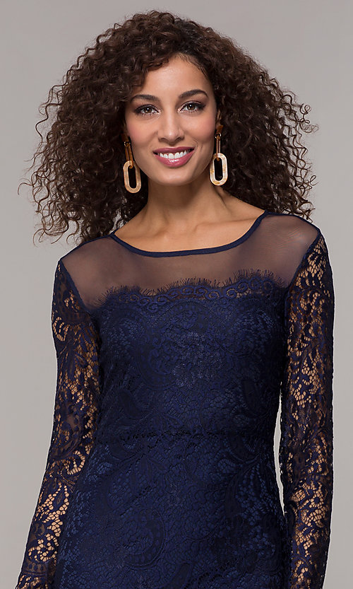 Image of long-sleeve short lace party dress with scallops. Style: JU-10410 Detail Image 1