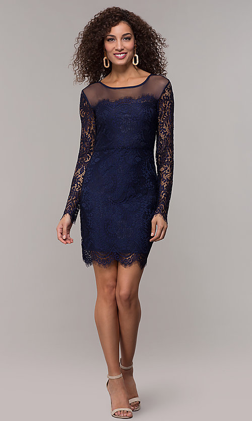 Image of long-sleeve short lace party dress with scallops. Style: JU-10410 Detail Image 2