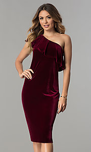 Image of knee-length wine red velvet one-shoulder party dress. Style: IT-111237 Front Image