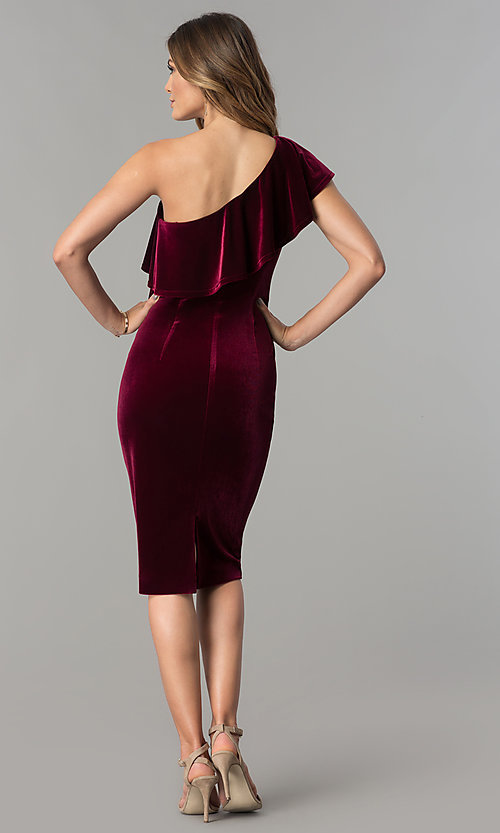 Image of knee-length wine red velvet one-shoulder party dress. Style: IT-111237 Detail Image 2