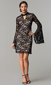 Image of black and nude short lace party dress with sleeves. Style: JX-1ZBK295Q Detail Image 2