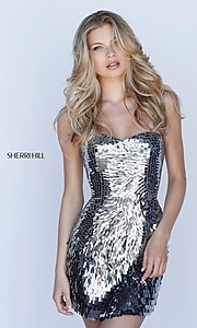 Image of strapless sequin Sherri Hill homecoming dress. Style: SH-51547 Front Image