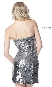 Image of strapless sequin Sherri Hill homecoming dress. Style: SH-51547 Back Image