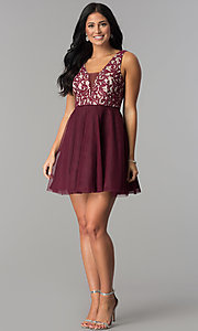 Image of wine lace-bodice junior-size short homecoming dress. Style: DMO-J318367 Detail Image 2