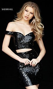 Image of sequin off-the-shoulder sweetheart homecoming dress. Style: SH-51411 Front Image