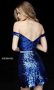 Image of sequin off-the-shoulder sweetheart homecoming dress. Style: SH-51411 Back Image