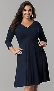 Image of plus-size knee-length party dress with 3/4 sleeves. Style: MB-MX1372 Front Image