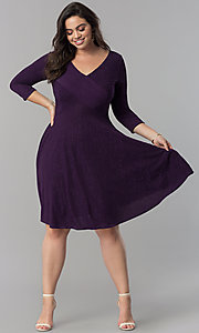 Image of plus-size knee-length party dress with 3/4 sleeves. Style: MB-MX1372 Detail Image 3