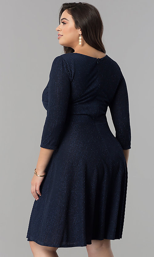 Image of plus-size knee-length party dress with 3/4 sleeves. Style: MB-MX1372 Back Image