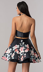 Image of two-piece black navy satin halter homecoming dress. Style: BL-A11405 Back Image