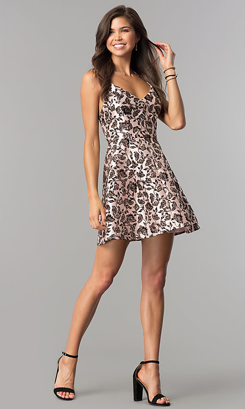 Image of black glitter-print short party dress in blush pink.  Style: EM-FKW-3312-692 Detail Image 2