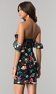 Image of short black lace party dress with floral embroidery. Style: JTM-JD7819 Back Image