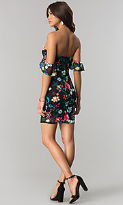 Image of short black lace party dress with floral embroidery. Style: JTM-JD7819 Detail Image 2