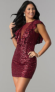 Image of short red sequin holiday party dress with ruffles. Style: DMO-J318587 Front Image