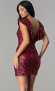 Image of short red sequin holiday party dress with ruffles. Style: DMO-J318587 Back Image