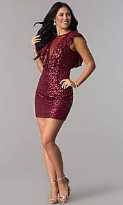 Image of short red sequin holiday party dress with ruffles. Style: DMO-J318587 Detail Image 3