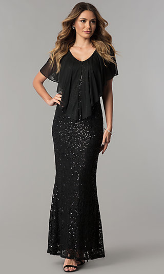 Long Black Lace Mother-of-the-Bride Dress with Cape