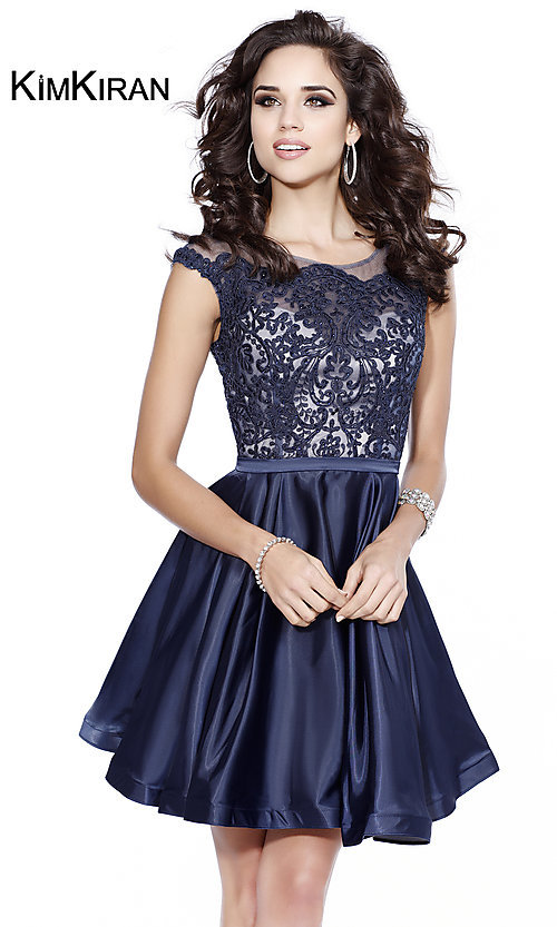Short Illusion Lace Bodice Homecoming Dress