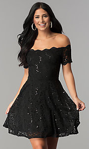 Image of sequin-lace off-shoulder short a-line party dress. Style: JU-10386 Detail Image 2