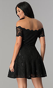 Image of sequin-lace off-shoulder short a-line party dress. Style: JU-10386 Back Image