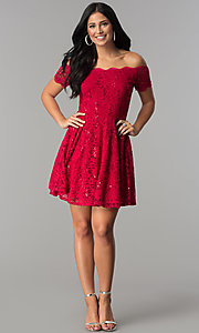 Image of sequin-lace off-shoulder short a-line party dress. Style: JU-10386 Detail Image 1