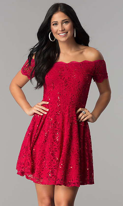Image of sequin-lace off-shoulder short a-line party dress. Style: JU-10386 Front Image