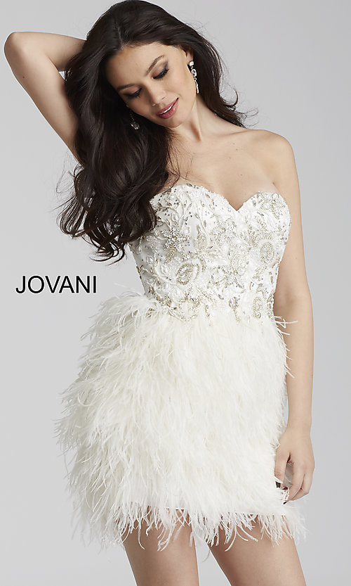 Jovani Strapless Homecoming Dress with a Feathered Skirt