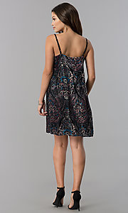 Image of adjustable-strap short shift print black party dress. Style: AS-A770904A64 Detail Image 2