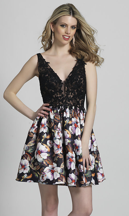 Open-Back Print Fit-and-Flare Homecoming Dress