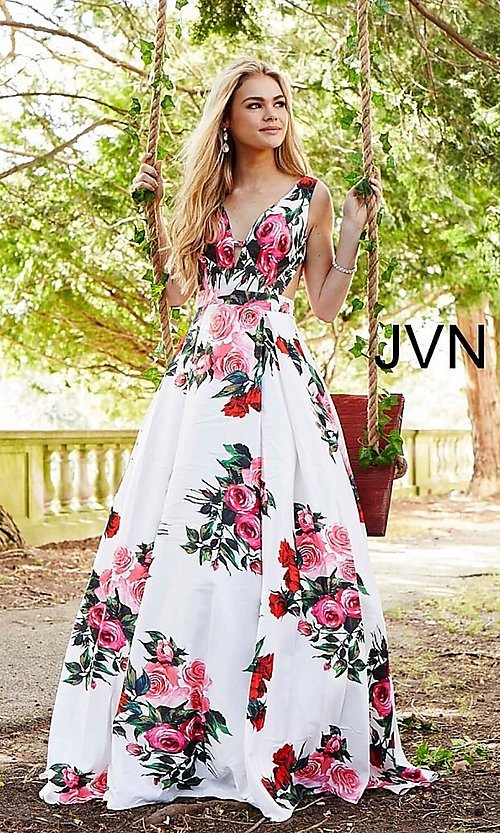 Image of white a-line print prom dress with side cut outs. Style: JO-JVN-JVN59146 Front Image