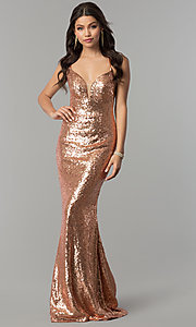 Image of long sequin open-back prom dress by Alyce. Style: AL-60032 Front Image