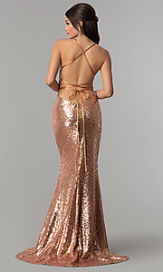 Image of long sequin open-back prom dress by Alyce. Style: AL-60032 Back Image