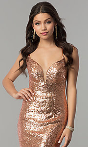 Image of long sequin open-back prom dress by Alyce. Style: AL-60032 Detail Image 1